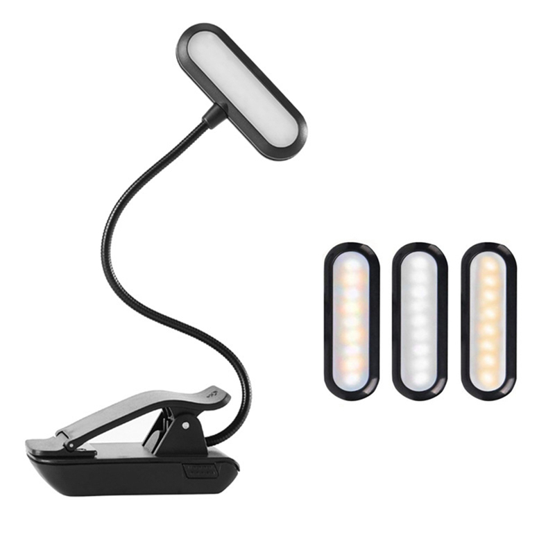 9 LED USB Rechargeable Eye-Care Warm Book Light Clip On Dimmable Table Lamp Music Stand Night Reading Piano Powered Indicator