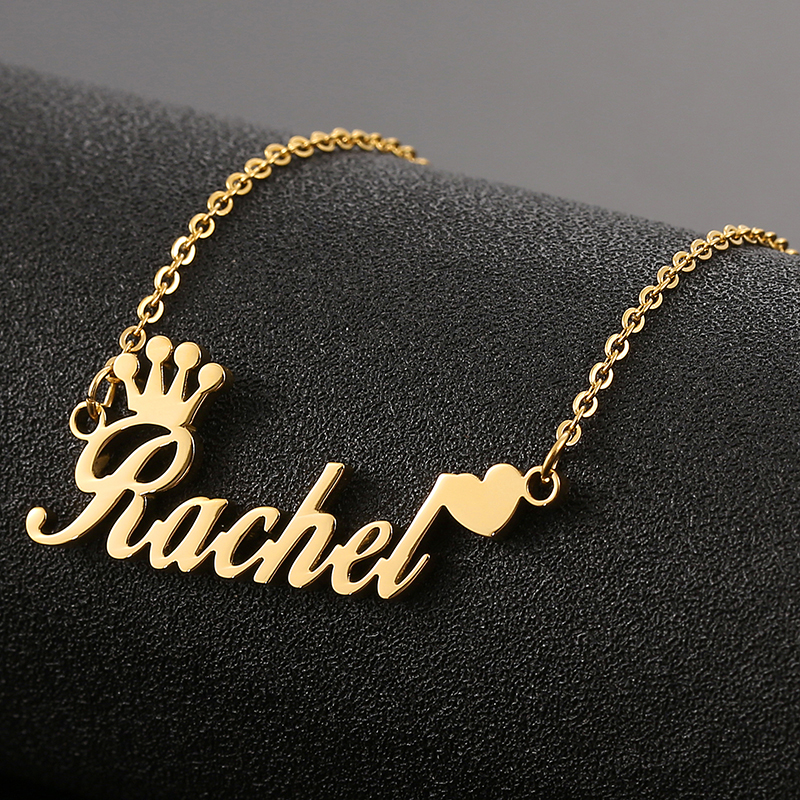 All Personalized Name Necklace,Custom Gold Heart Pendant,Stainless Steel Chain, Nameplate Choker?SKQIR Jewelry