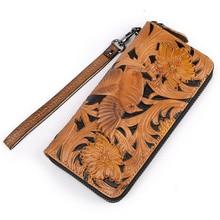 купить Vintage Men Long Wallet Male Birds Painting Zipper Around Purse Men's Long Clutch Bag Wallet Wristlet Bag Business Coin bag по цене 1335.19 рублей