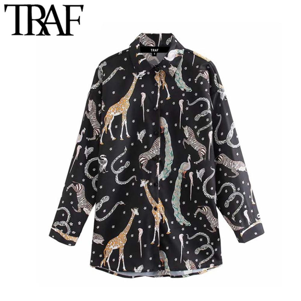 Женские блузки с отложным воротником TRAF, винтажные свободные блузки с длинным рукавом и принтом животных|Рубашки|   | АлиЭкспресс