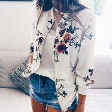 Autumn Women Jackets Casual Flower Print Pocket Slim Coat Hip Hop Fashion Zipper Floral Long Sleeve Female Jacket Plus Size