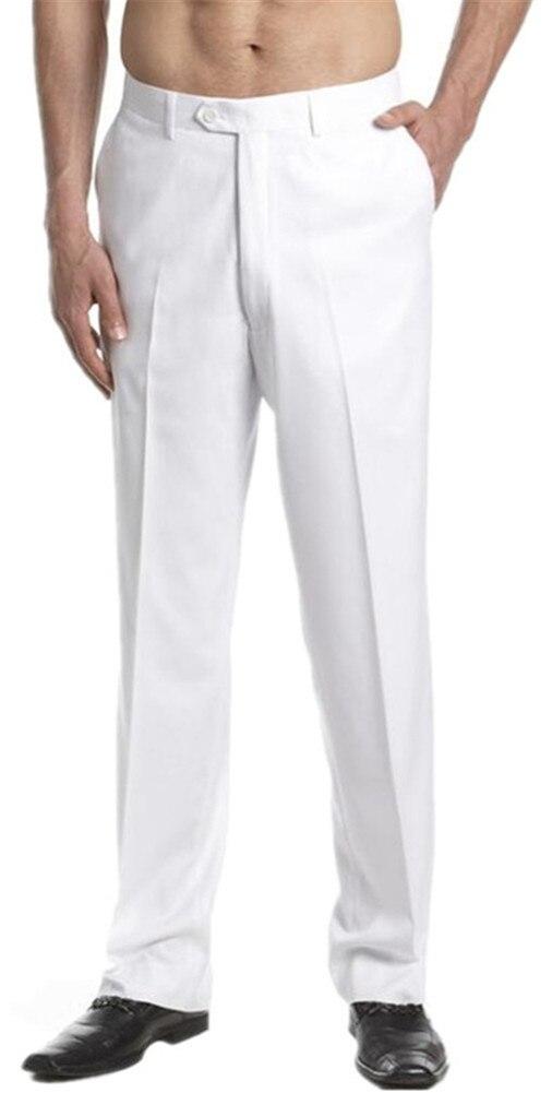 Elegant White Straight Men Pants Trousers Male Slim Fit Business Suit Pants/Male High-end Leisure Thin Leg Pants Fashionable