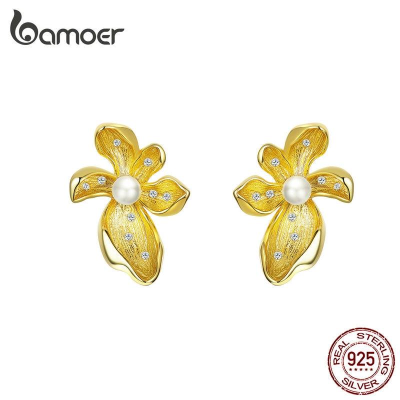 Bamoer Blooming Flowers Stud Earrings For Women Wedding Party Statement Jewelry Elegant Pearl 925 Sterling Silver Bijoux BSE249