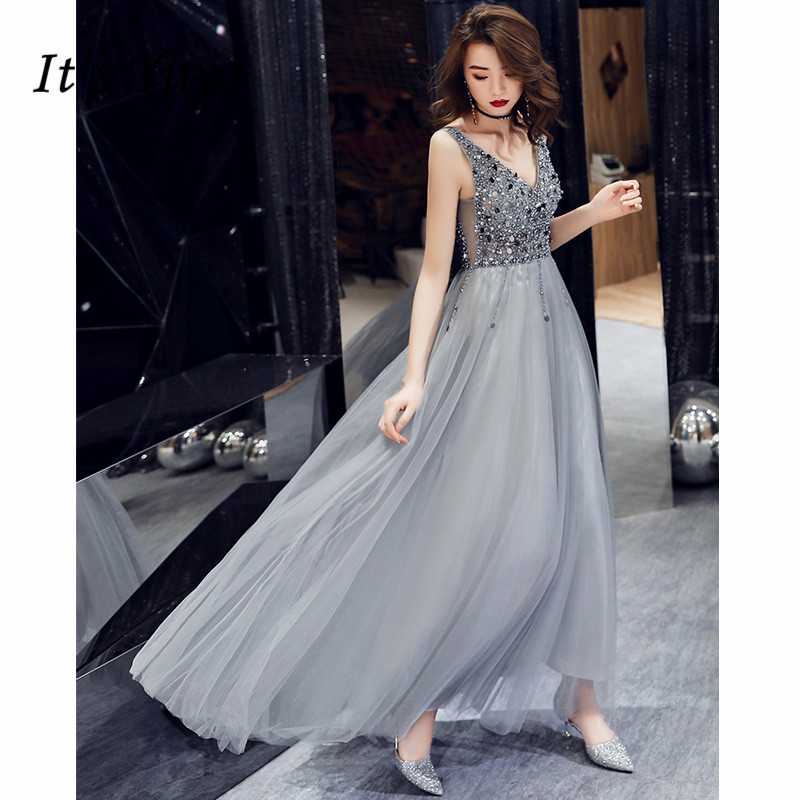 Evening Dresses It's Yiiya AR214 Shining Sequined Sleeveless Robe De Soiree Illusion Tulle Lace Up Women Formal Party Vestido