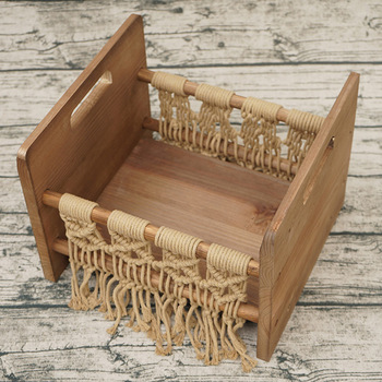 Wooden Cot Decoration Studio Home Small Posing Photography Prop Sofa Baby Woven Rope Retro Newborn Bed Background