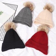 Chapeaux tricotés à pompon pour bébé fille, chapeau chaud d'hiver pour enfant