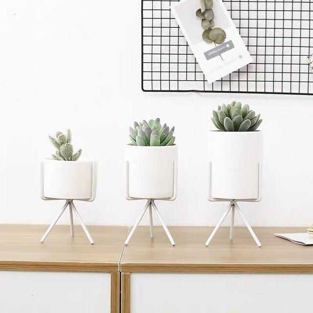 Фото керамический цветочный горшок в скандинавском стиле 3 шт подставка