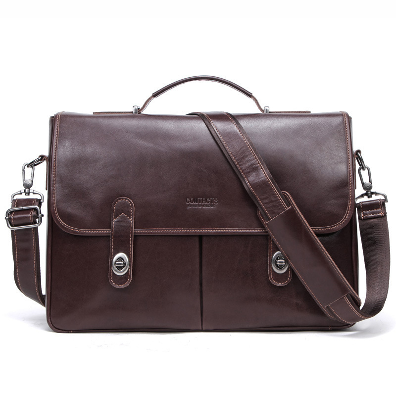 Genuine Leather Briefcase 15.4 Inch Computer Messenger Office Bags For Men Business Affairs More Function Cowhide Male Package