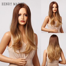 Synthetic Wigs Blonde Henry Margu Middle-Part Heat-Resistant Wavy Brown Natural Long