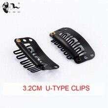 XISHIXIU15Pcs/Lot Clip In Hair Extension Wig Clips For Human Hair Bangs Snap Hair Clips For Extensions Metal Comb For Closure