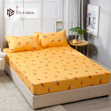Liv Esthete Fashion Carrot Polyester Yellow Fitted Sheet With Pillowcase Soft Mattress Cover Bed Linen Bed