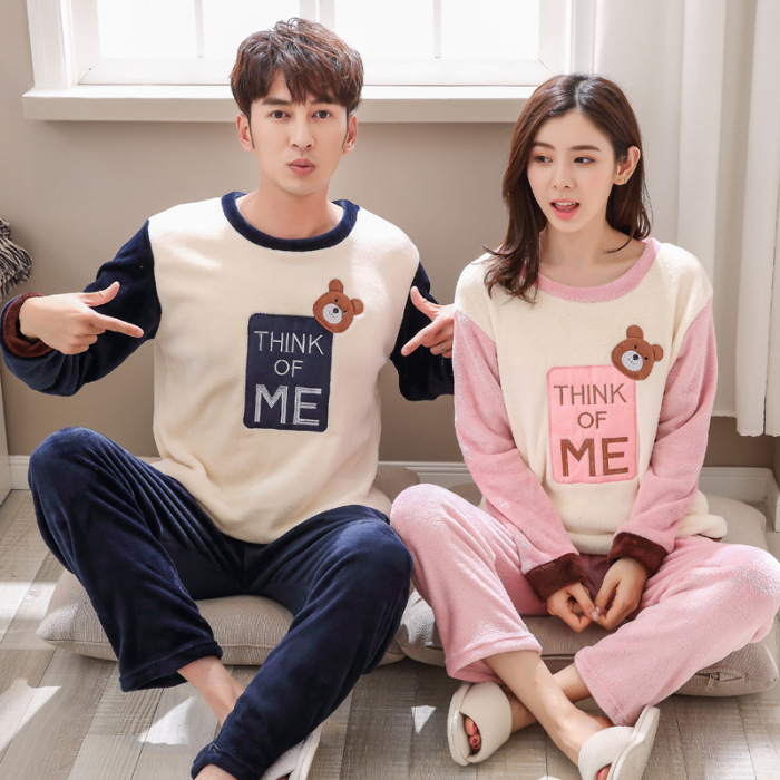 Fleece Couple Pyjamas Winter Warm Pijamas Women Men Sleepwear   Pajamas   For Women Pyjama Femme   Pajama     Set   Sexy Lingerie Nightwear