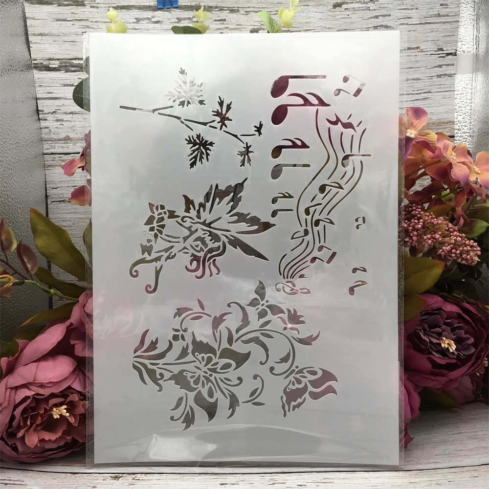 29*21cm A4 Music Notes Butterfly DIY Layering Stencils Wall Painting Scrapbook Coloring Embossing Album Decorative Template
