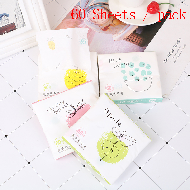 60 Sheets/Pack Tissue Paper Napkins Serviettes Cartoon Fruits Printing Home Paper Towel Raw Wood Pulp