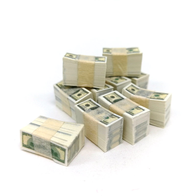 Pocket-size Paper Money A Bundle Miniature Play Money US $100 / $1Banknotes Dollhouse Toy Accessories Shooting Props
