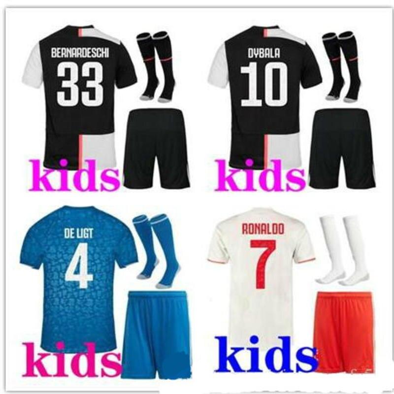 Children Kit 2019 Juve Soccer Jersey BUFFON Dybala DE LIGT Ramsey Ronaldo Kean Kids Kit Football Shirt 2020 Juve Kids Jerseys