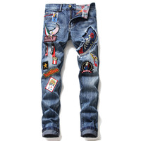 Men'S Pants Jeans Streetwear Denim Trousers Biker High Quality Male Designer Ripped Comfortable Advanced Fashion Joggers