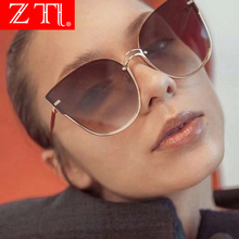ZT Oversize Cat Eye Sunglasses Women Fashion Purple Mirror Shades Gradient Titanium Beach Sun Shade