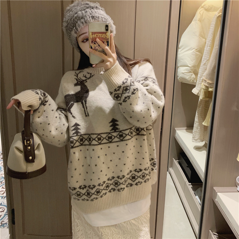Купить реальная цена рождественский стиль повседневный корейский пуловер
