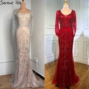 Image 2 - Dubai Grey Nude V Neck Sexy Evening Dresses 2020 Crystal Sleeveless Shawl Yarn Formal Dress Serene Hill LA70382