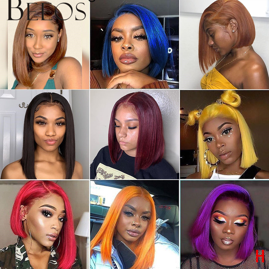 Beeos 150% 13*6 Lace Front Human Hair Wig Peruvian Remy Straight Bob Colorful Wigs Preplucked Hairline Transparent Lace