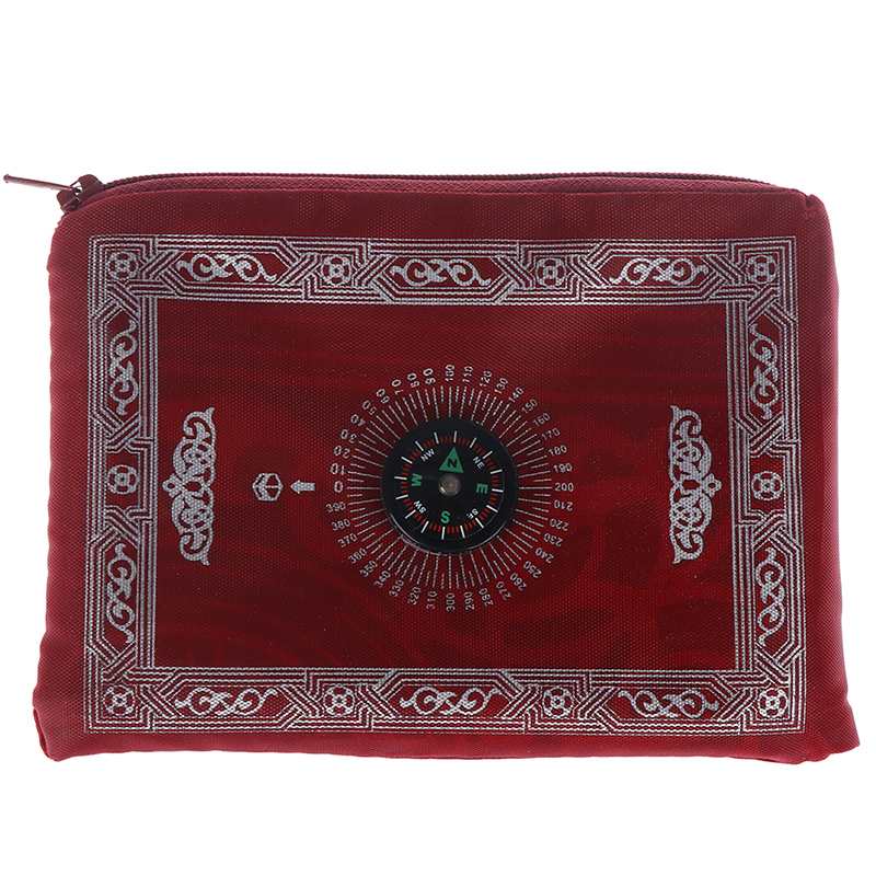 Image 5 - New Hot Muslim Prayer Rug Polyester Portable Braided Mats Simply  Print with Compass In Pouch Travel Home Mat Blanket 100*60cmRug   -