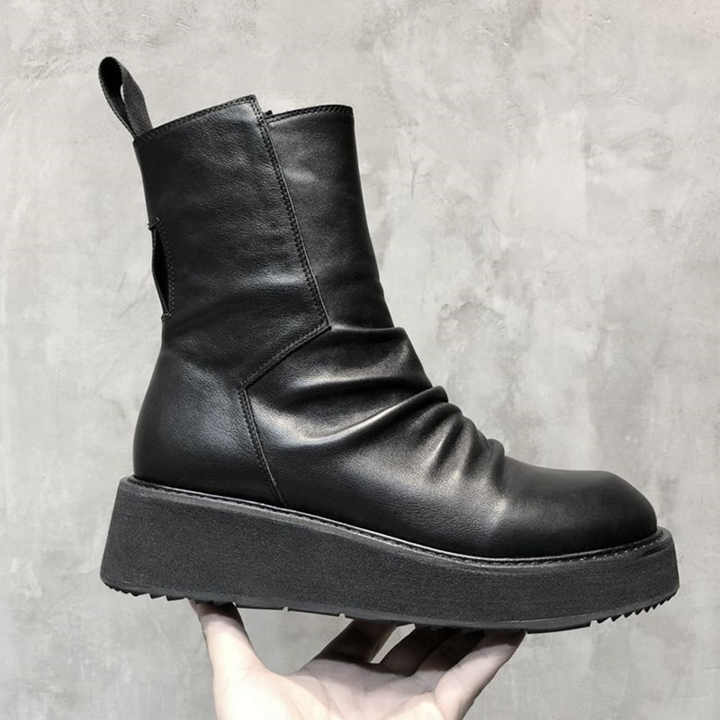 High Quality Leather Black Zipper Military Boots Men Street Style Winter Platform Sneakers Stylish 2020 Work&Safety Ankle Boots
