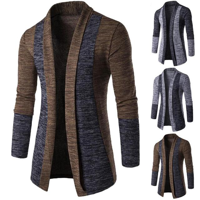 New retro men's sweater men's cardigan stitching contrast color long-sleeved slim-fit sweater jacket outer wear versatile fit 1