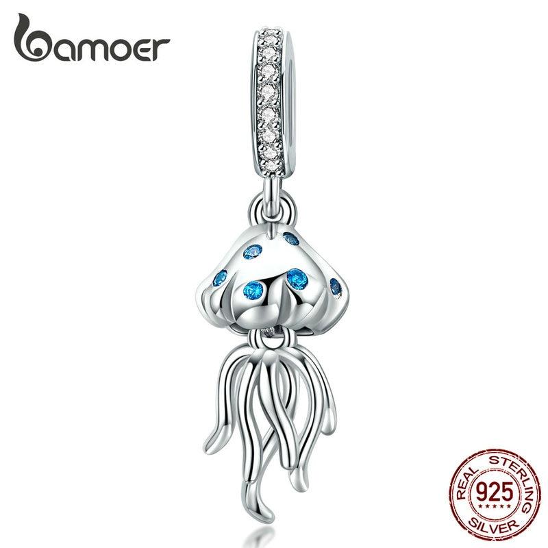 Bamoer Underwater World Series Jellyfish Pingente Charme para Colar Pulseira Authentic 925 Sterling Silver Jóias DIY SCC1297