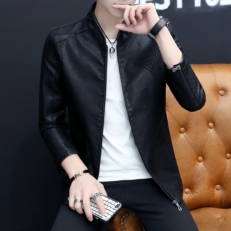 Spring And Autumn New Style Solid Color Youth Korean-style Fashion Casual Slim Fit Cool Embossed MEN'S Leather Coat