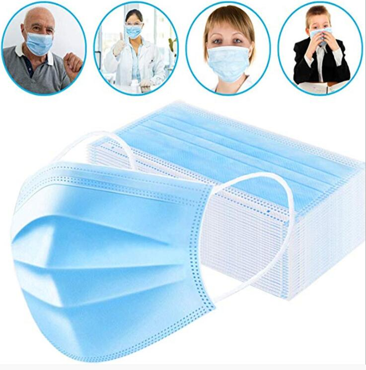 100PCS Face Mouth Anti Virus Mask Disposable Protect 3 Layers Filter Dustproof Earloop Face Mouth Masks Non Woven