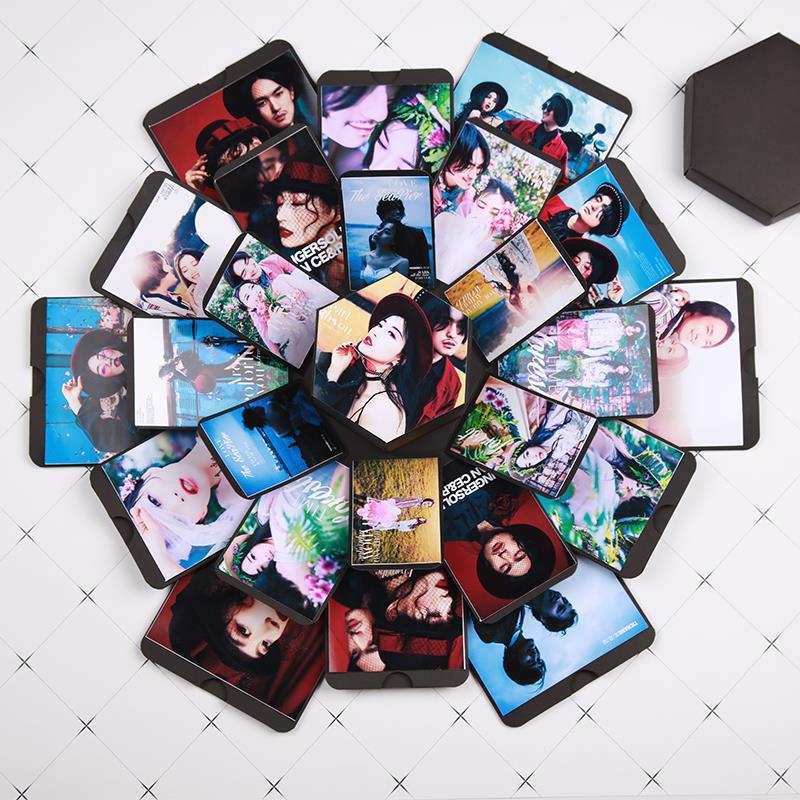 Черный шестигранник сюрприз взрыв подарок подарок коробка для подарка волшебные коробки DIY Записки фотоальбом-летию со дня рождения Валентина