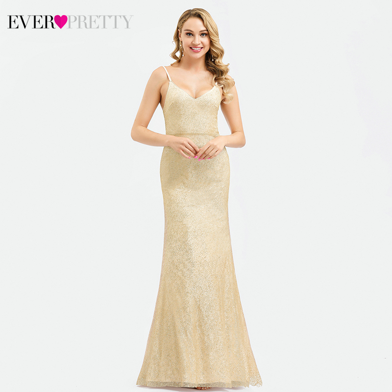 Sexy Gold Saudi Arabia Evening Dresses Long Ever Pretty EP00818GD V-Neck Spaghetti Straps Elegant Mermaid Formal Dresses Abiye