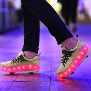 Image 5 - Schwarz Rosa Grau USB Lade Mode Mädchen Jungen LED Licht Rollschuh Schuhe Für Kinder Kinder Turnschuhe Mit Rädern Zwei räder