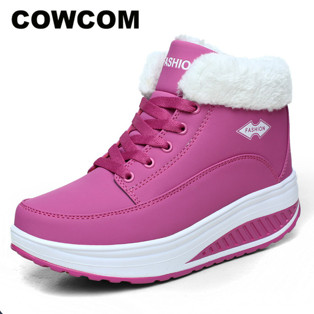COWCOM  Comfortable Autumn Winter Cotton Shoes Womens Thick Bottom Elevated Shoes Rocker Shoes Warm Womens Shoes CYL