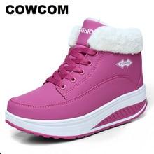 Удобные осенне зимние хлопковые туфли COWCOM, женская обувь на толстой подошве с подъемом, туфли качалки, теплая женская обувь CYL