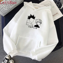 Nova camisola kawaii hunter x hunter hoodie moletom com capuz killua zoldyck anime manga branco hoodies roupas de inverno com capuz