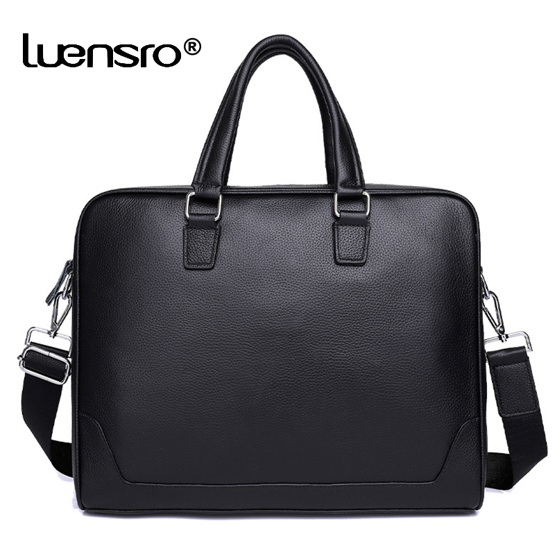 Business Man Bag Genuine Leather Briefcase For Man Solid Bank OL Mens Briefcase Bag Dress Man Handbag Leather Shoulder Bags