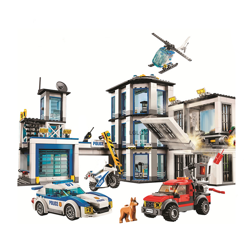 New 936Pcs City Police Station Building Block Bricks Compatible Lepining  With 60141 Toy Gift For Children