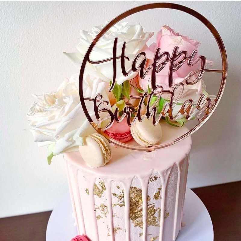 INSใหม่Happyวันเกิดเค้กอะคริลิคTopper Pink Gold Cupcake Topperสำหรับเด็กGilrsวันเกิดเค้กตกแต่งBaby Shower