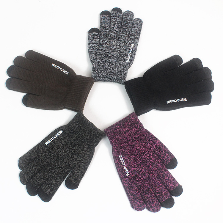 2019 Winter Warm Touch Screen Gloves For Women Men - Anti-Slip Silicone Gel Knit Soft Lining Cuffs Cycling Sports Texting Gloves