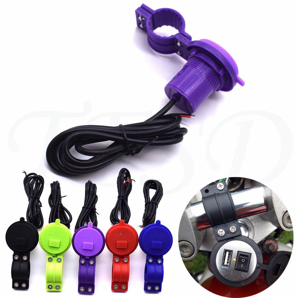 USB Auto Ladegerät Motorrad DC 12V-24V Ladegerät mit Schalter Steckdose Wasserdicht Telefon Ladegerät Für YAMAHA MT-07 FZ09 XJ6 R6 R3 MT-09