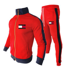 Men's casual suit 2021 autumn new brand stitching sportswear track suit zipper casual shirt + pants 2PC sets of men's sportswear