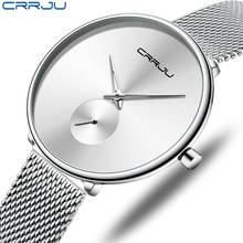 CRRJU Women Watches Simple Ladies Wrist Clock Quartz Steel Mesh Belt Luminous Waterproof Fashion Watch Magnetic Strap Bracelet