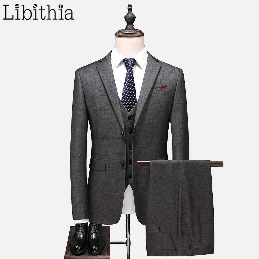 Libithia Men's Formal Suits Wool Luxury Blazer Two Buttons Jackets Coats Vest Pant Autumn Three Pieces Grey A105