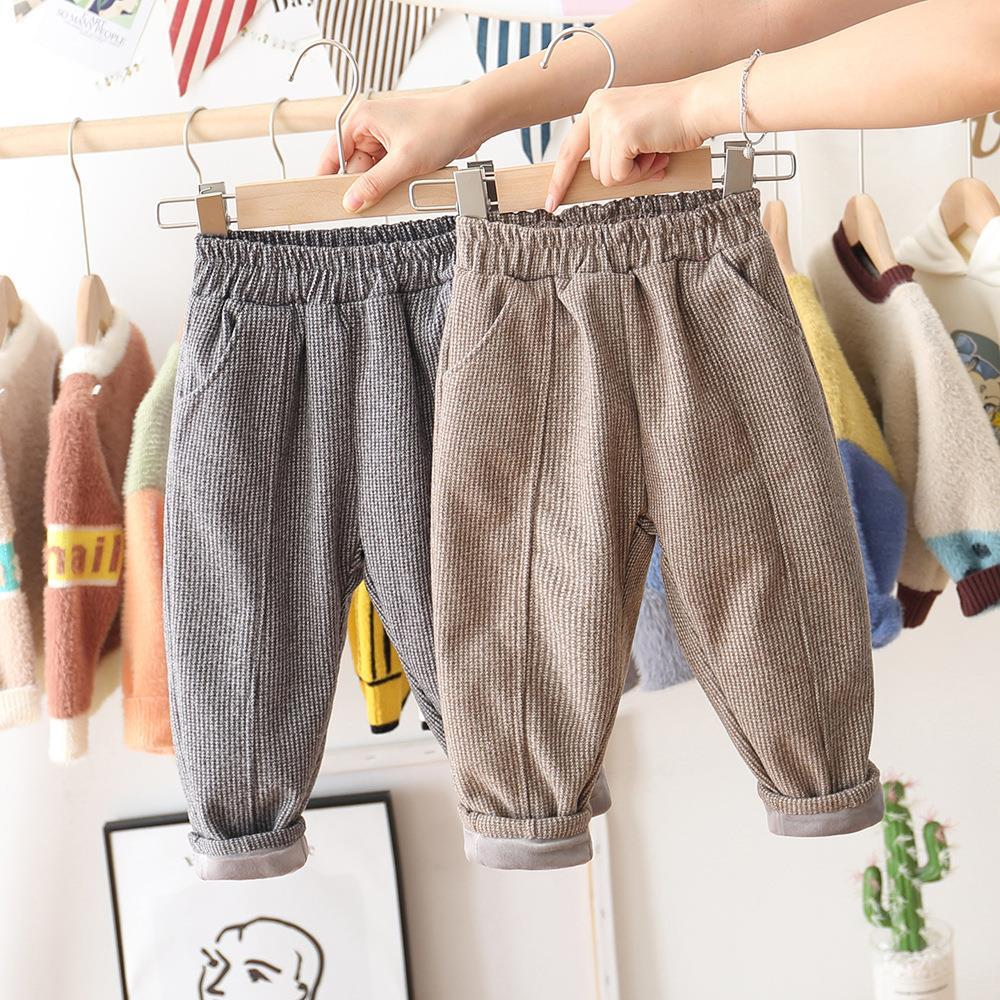 Boys and Girls Plus Velvet Pants Spring and Autumn Models Warm Casual Pants Baby Cotton Pants Children's Fashion Korean Trousers
