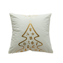 New golden Christmas seat cushion cover without inner Christmas tree hot stamping letter pattern pillow cover for home dec X4 цена в Москве и Питере