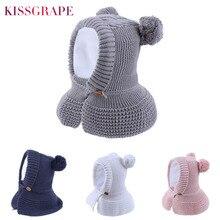 New Baby Pompom Hat with Cloak Boys Girls Pink Skullies Beanies Warm Velvet Winter 2019 Kids Soft Knit Beanie Cap