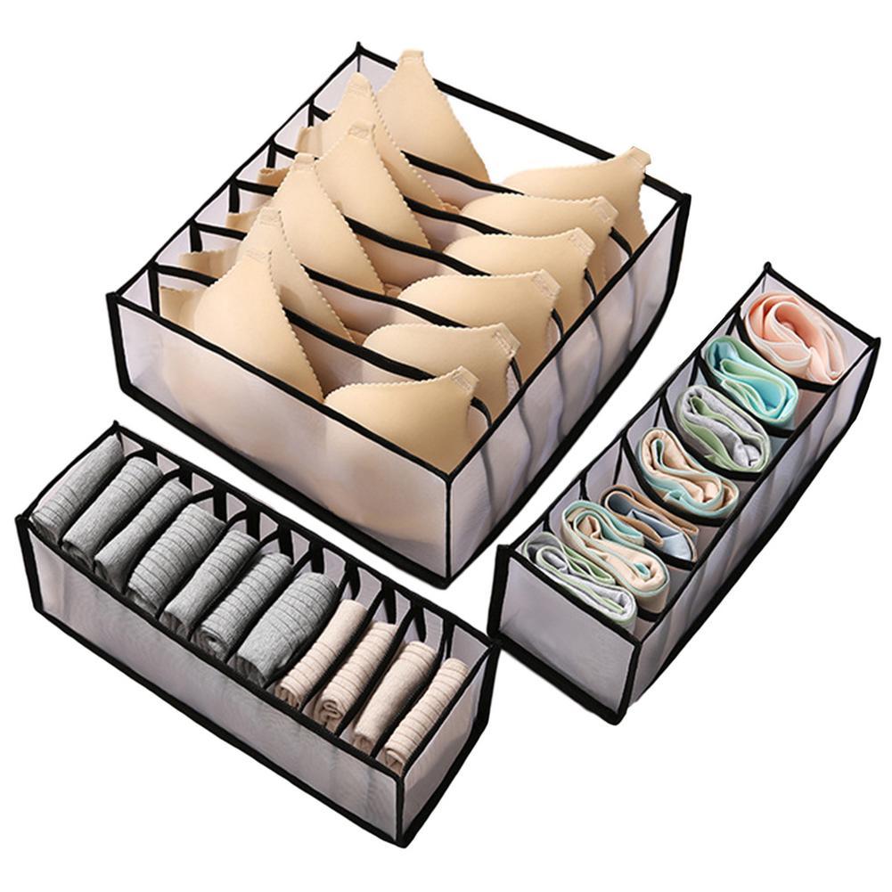Waschbar unterwäsche lagerung box faltbare 6/ 7/11 grids bras socken schublade organizer Multi-funktion home storage organizer 1/3pc