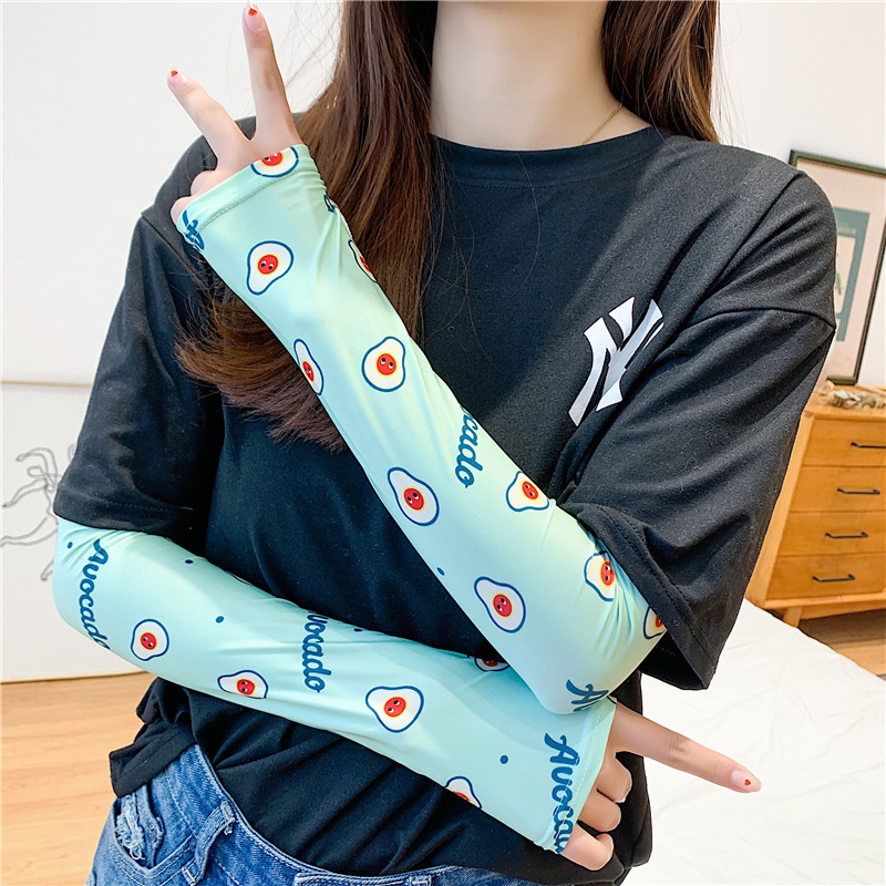 New Summer Ice Silk Arm Sleeves Print UV Sun Protection Sleeve Fashion Lady Arm Covers Slimmer Gloves Female Accessories 2020